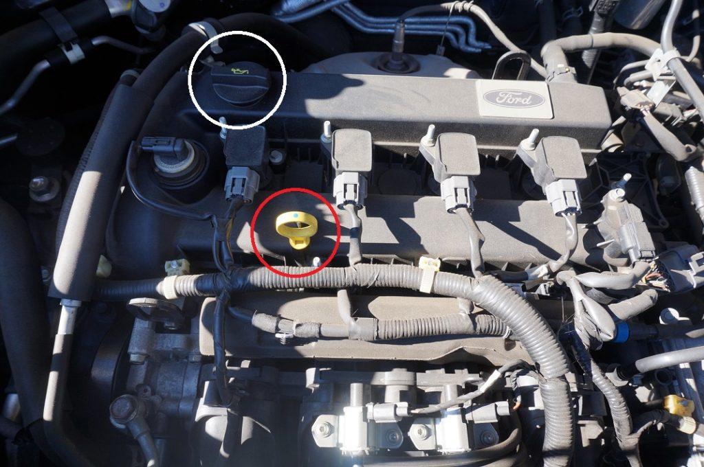 エンジンオイルの投入口
